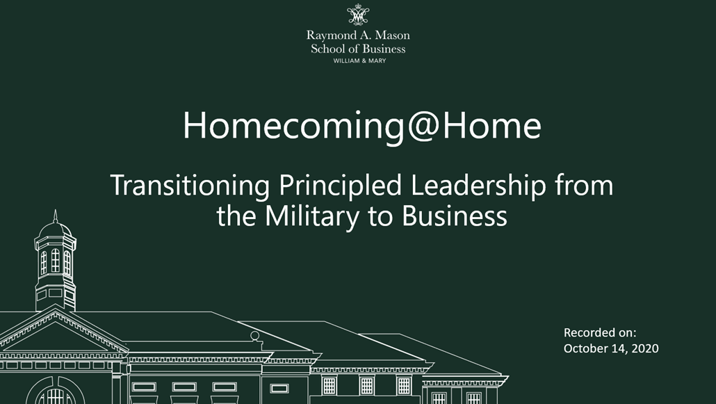Image for Homecoming@Home Transitioning Principled Leadership from the Military to Business webinar