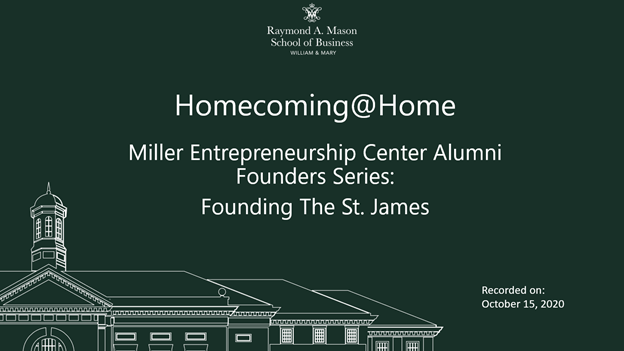 Image for Homecoming@Home: Alumni Founders Series - Founding The St. James webinar