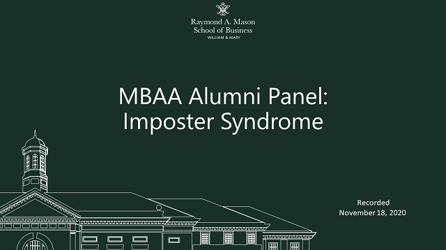 Image for MBAA Alumni Panel: The Monster of Imposter Syndrome webinar
