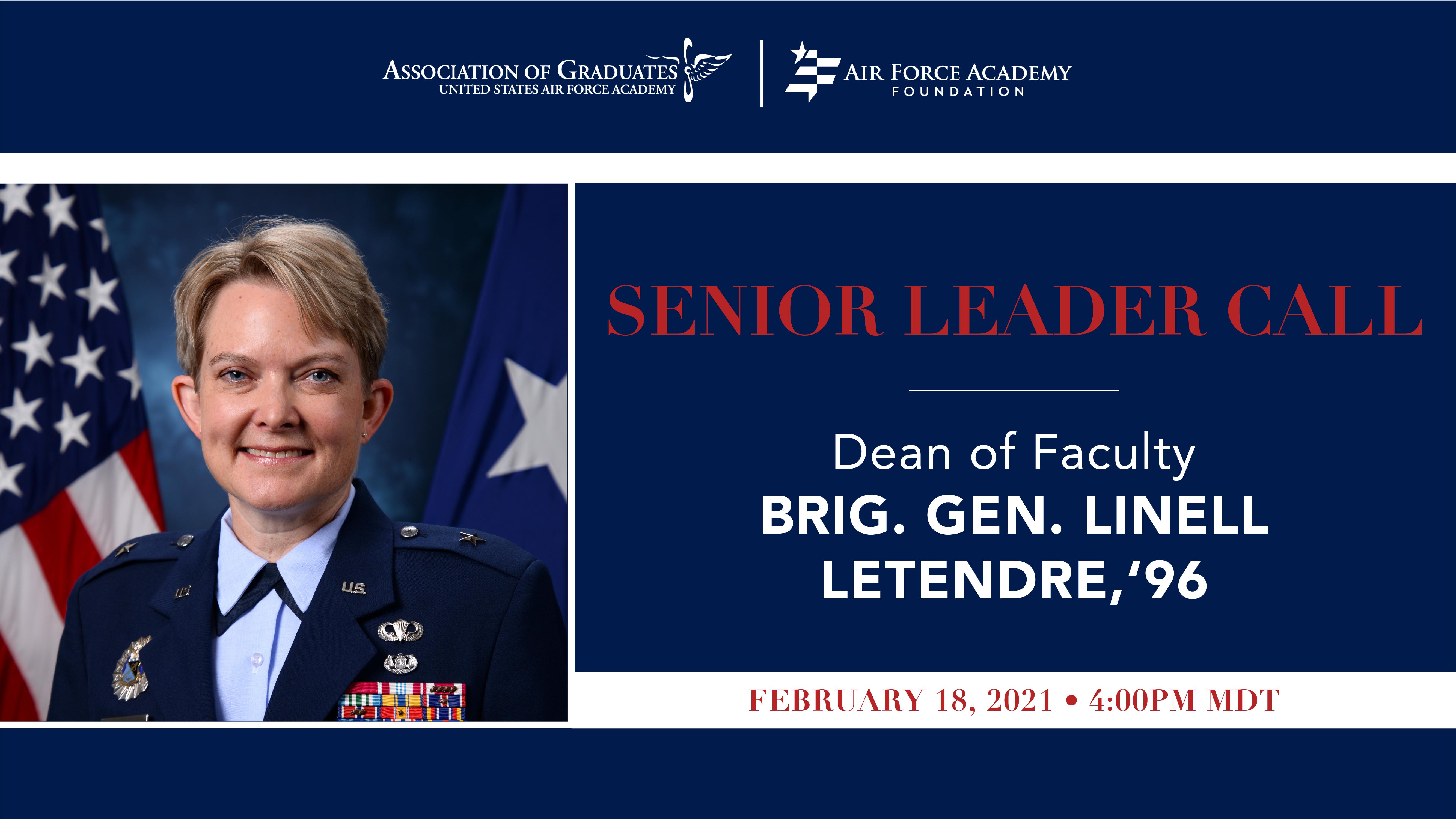 Image for Brig. Gen. Linell Letendre Senior Leader Call webinar